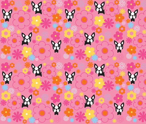 Mod Boston Terriers - Pink fabric by boredinc on Spoonflower - custom fabric