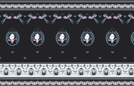 Dark princess lace fabric by pinky_nika on Spoonflower - custom fabric