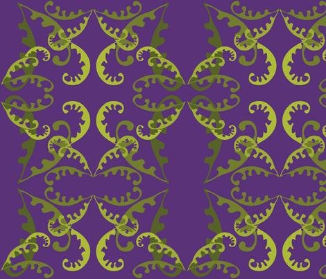 Fern Lattice on Purple fabric by linda_santell on Spoonflower - custom fabric