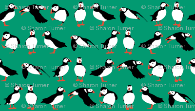 just puffins emerald green