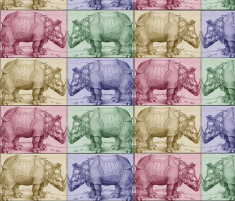 Vintage Rhino Squares fabric by craftyscientists on Spoonflower - custom fabric