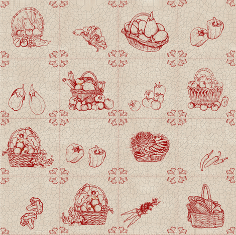 Toile_red_tile fabric by kirpa on Spoonflower - custom fabric