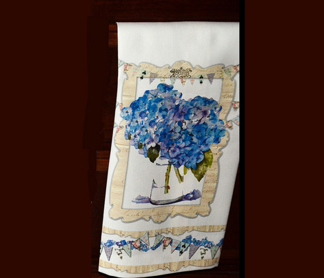 French Hydrangeas dishtowels