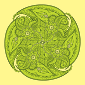 Paisley circle small green