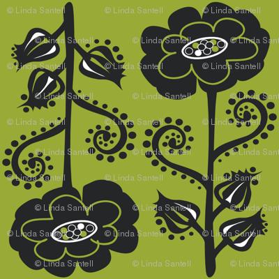 Fun & Funky Flowers on Moss Green
