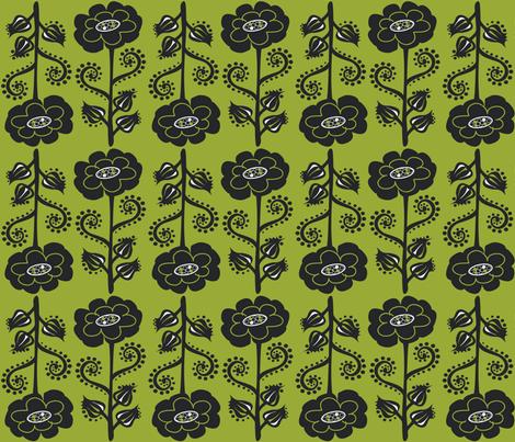 Fun & Funky Flowers on Moss Green fabric by linda_santell on Spoonflower - custom fabric