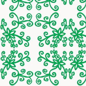 Black twirly flowers green