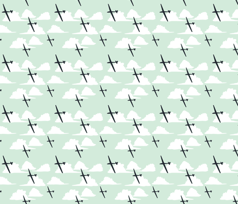 Gliders Under a Cumulus Cloud fabric by avkat on Spoonflower - custom fabric