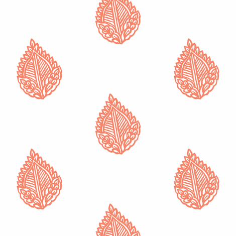 Falling Leaf Salmon fabric by frocklove on Spoonflower - custom fabric
