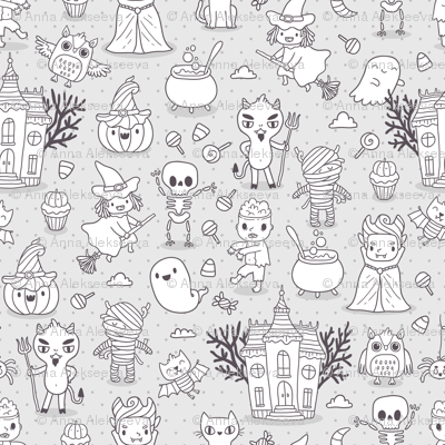 Cute Halloween Grey and White