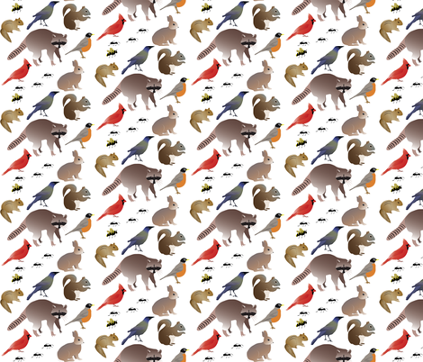 BackyardCreatures-Pattern fabric by terriaw on Spoonflower - custom fabric