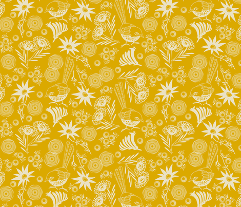 wildflower gold fabric by cjldesigns on Spoonflower - custom fabric