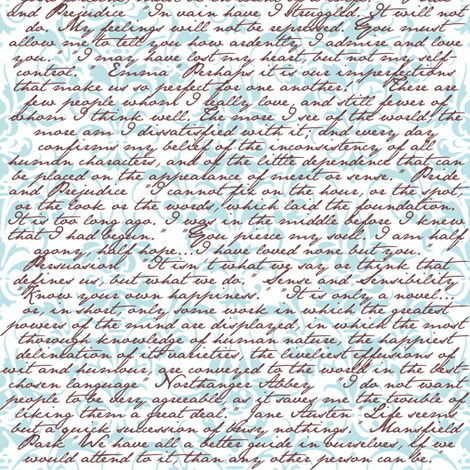 Jane Austen Damask ~ Blue and White and Chocolate fabric by peacoquettedesigns on Spoonflower - custom fabric