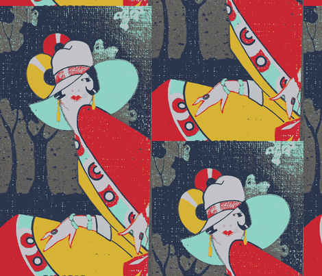 Deco Lady Red Mint Yellow Half Drop fabric by olivemlou on Spoonflower - custom fabric