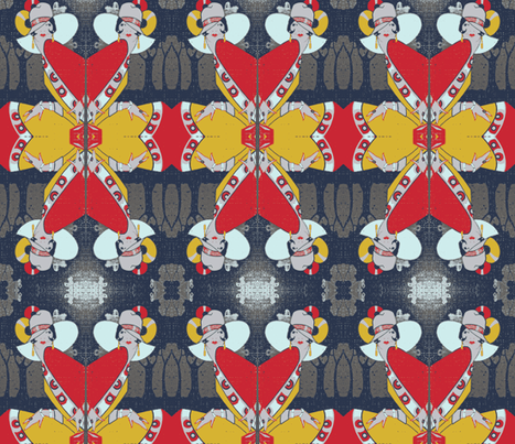 Deco Lady Red Grey Yellow Mirror fabric by olivemlou on Spoonflower - custom fabric