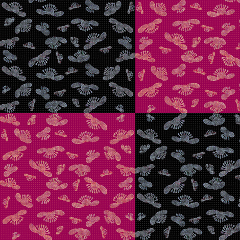 falling blossoms - checkered in magenta and black  fabric by materialsgirl on Spoonflower - custom fabric