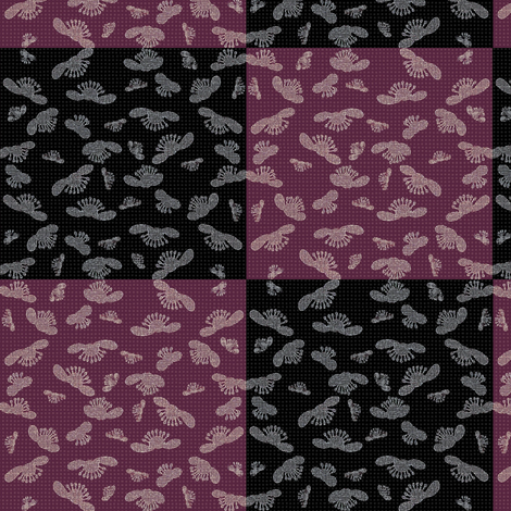 falling blossoms - checkered in plum and black -ed fabric by materialsgirl on Spoonflower - custom fabric