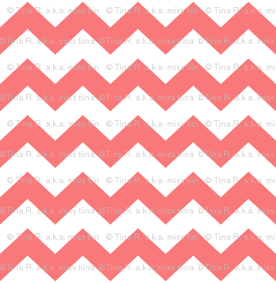 coral chevron i think i heart u
