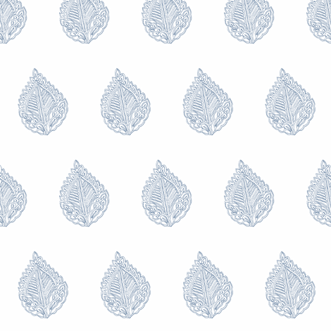 Leaf Outline Indigo fabric by frocklove on Spoonflower - custom fabric