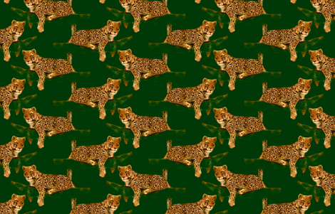 Jaguar on green fabric by eclectic_house on Spoonflower - custom fabric