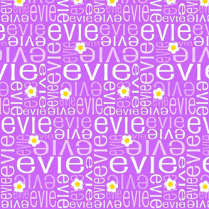 Personalised Name Fabric - Party Purple Daisies