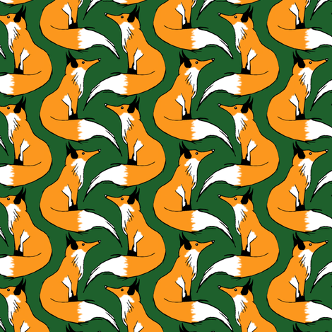 Red Fox on Green fabric by pond_ripple on Spoonflower - custom fabric