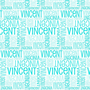 Personalised Name Fabric - White and Turquoise