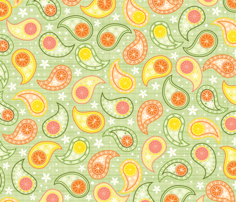 Citrus Paisley fabric by mariao on Spoonflower - custom fabric