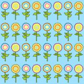 Yellow, Blue, Pink & Orange Retro Flower Print 2