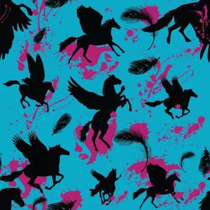 Pegasus In Flight - Paint Splatter