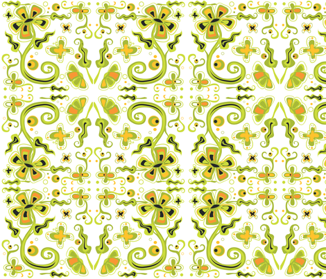 Bohemian Flowers on White 12x12 fabric by linda_santell on Spoonflower - custom fabric