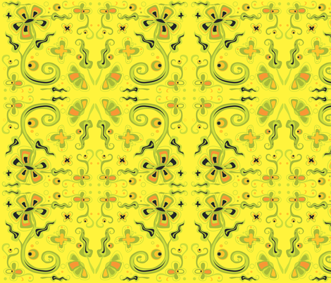 Bohemian Flowers  on Yellow 12x12 fabric by linda_santell on Spoonflower - custom fabric
