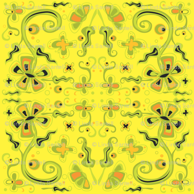 Bohemian Flowers on Yellow 6x6