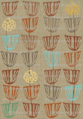 Pods and Seeds 2 on Linen