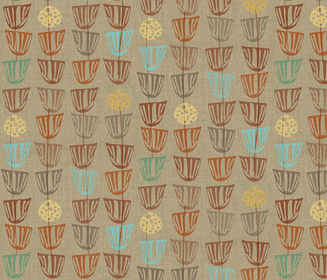 Pods and Seeds 2 on Linen fabric by kcs on Spoonflower - custom fabric