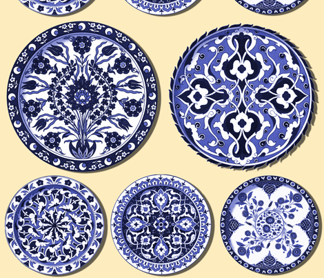 Trompe l'Oeil Plates ~ Blue & White on Buttercream fabric by peacoquettedesigns on Spoonflower - custom fabric