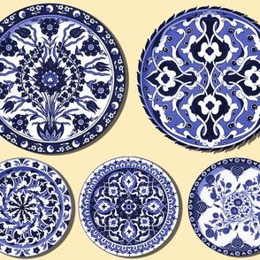 Trompe l'Oeil Plates ~ Blue & White on Buttercream