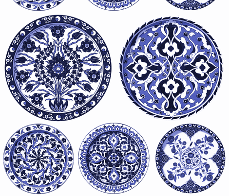 Blue & White China Plates fabric by peacoquettedesigns on Spoonflower - custom fabric