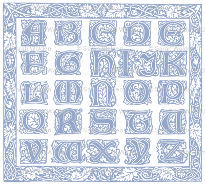 William Morris Alphabet Block Cheater Quilt ~ Blue & White