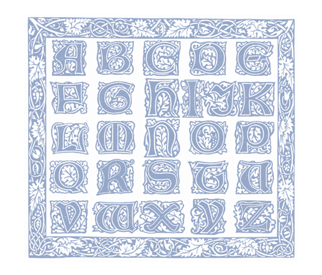 William Morris Alphabet Block Cheater Quilt ~ Blue & White fabric by peacoquettedesigns on Spoonflower - custom fabric