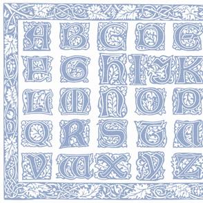 William Morris Alphabet Block Cheater Quilt ~ Blue & White