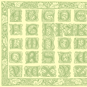 William Morris Alphabet Block Cheater Quilt ~ Sage & Buttercream