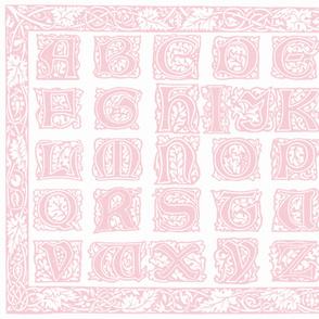 William Morris Alphabet Block Cheater Quilt ~ Pink & White