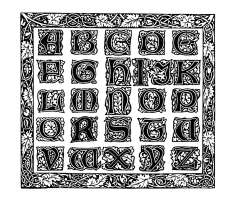 William Morris Alphabet Block Cheater Quilt ~ Black & White fabric by peacoquettedesigns on Spoonflower - custom fabric