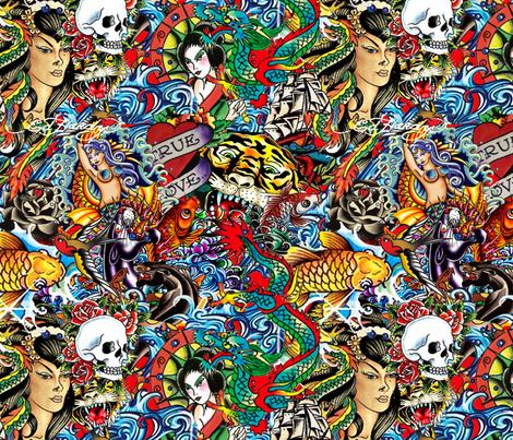 Ed hardy fabric 1 fabric ellyw spoonflower - Ed hardy designs wallpaper ...