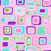 Mod Retro Squares in Pink, Purple, Blue & Green