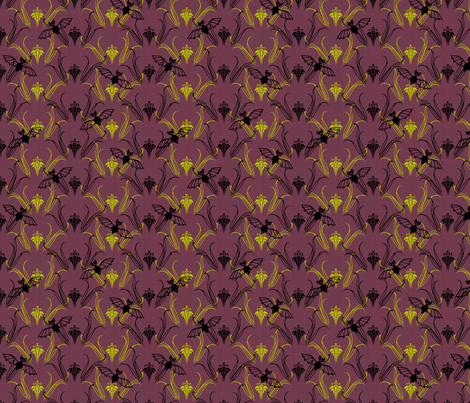 Lilies and Vampire Bats synergy0013 fabric by glimmericks on Spoonflower - custom fabric