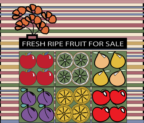 SOOBLOO_FRUIT_FOR_SALE_4-1-01 fabric by soobloo on Spoonflower - custom fabric
