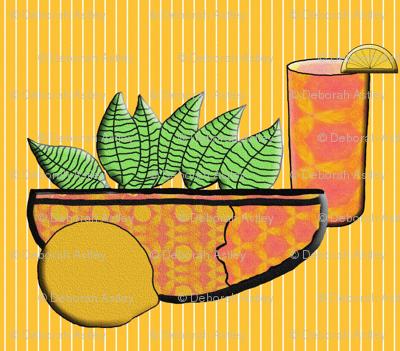 A Lemon, A Bowl of Lemon Leaves, and  Iced Tea