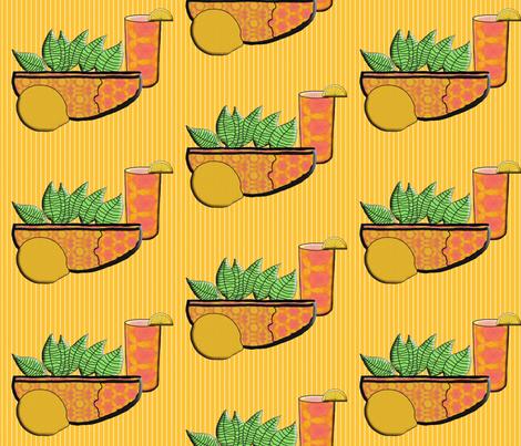 A Lemon, A Bowl of Lemon Leaves, and  Iced Tea fabric by anniedeb on Spoonflower - custom fabric